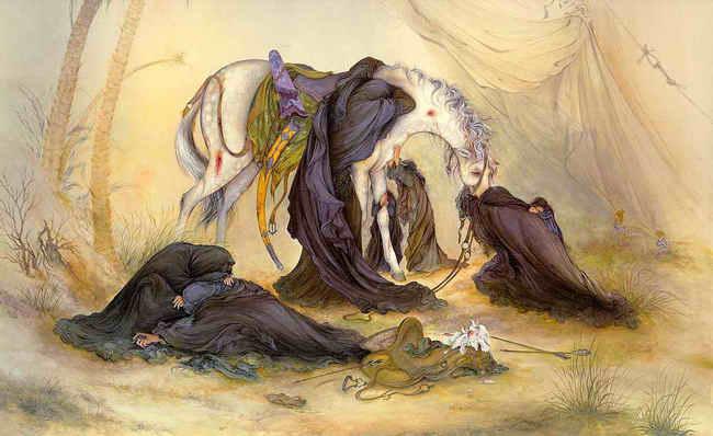 تابلوی ظهر عاشورا - اثر ماندگار استاد فرشچیان